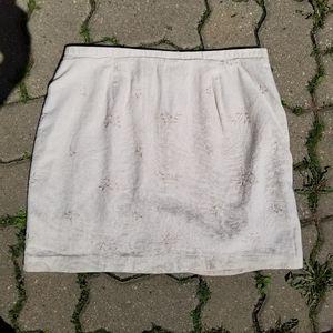 Japon Et Chine beige linen zip embroidered skirt
